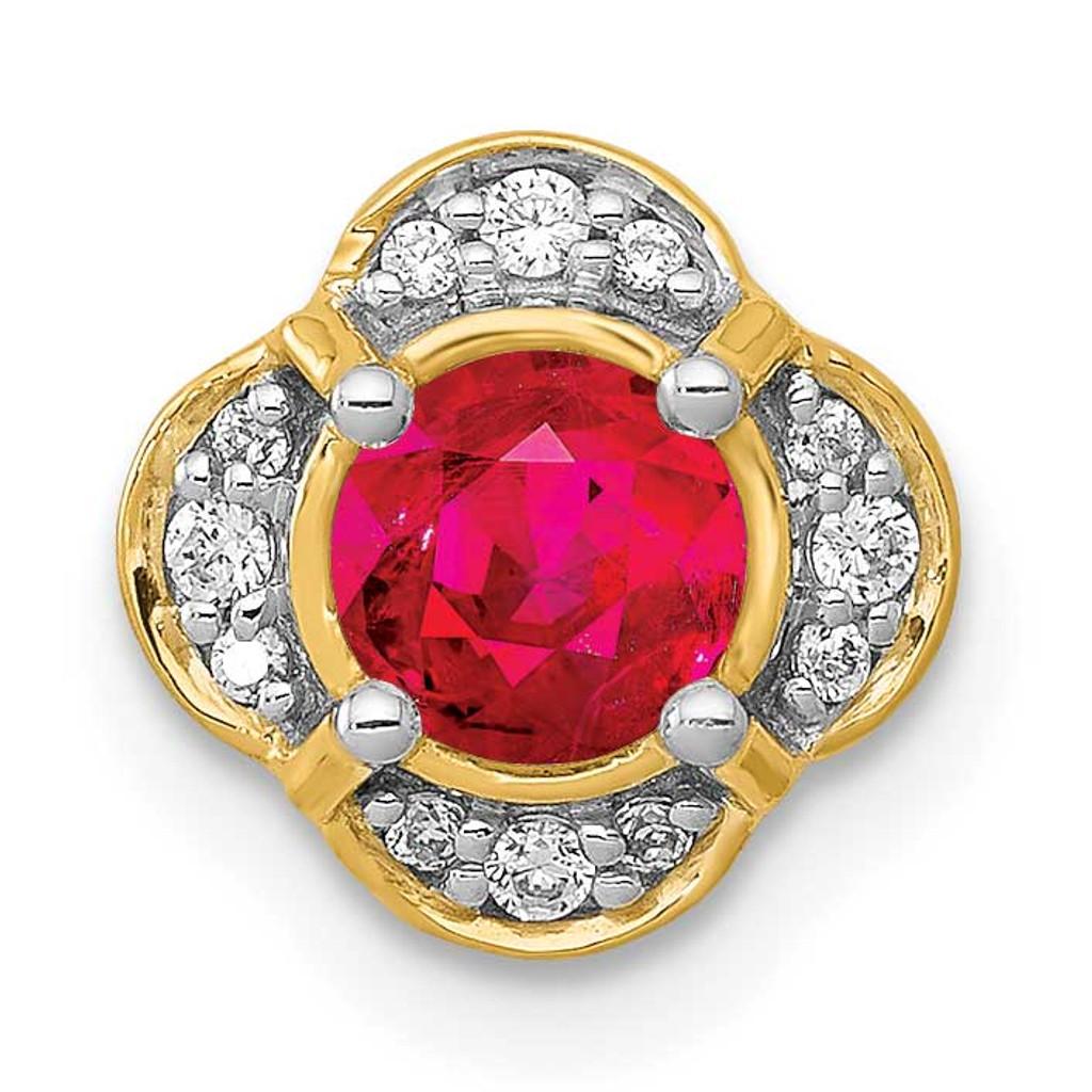 .33 Ruby Fancy Chain Slide 14k Gold Diamond MPN: PM3923-RU-007-YA UPC: