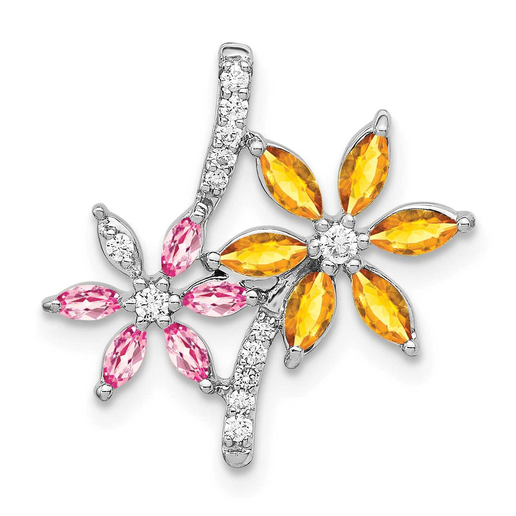 1.02 Citrine Pink Tourmaline Flower Pendant 14k White Gold Diamond MPN: PM4383-007-WA UPC: