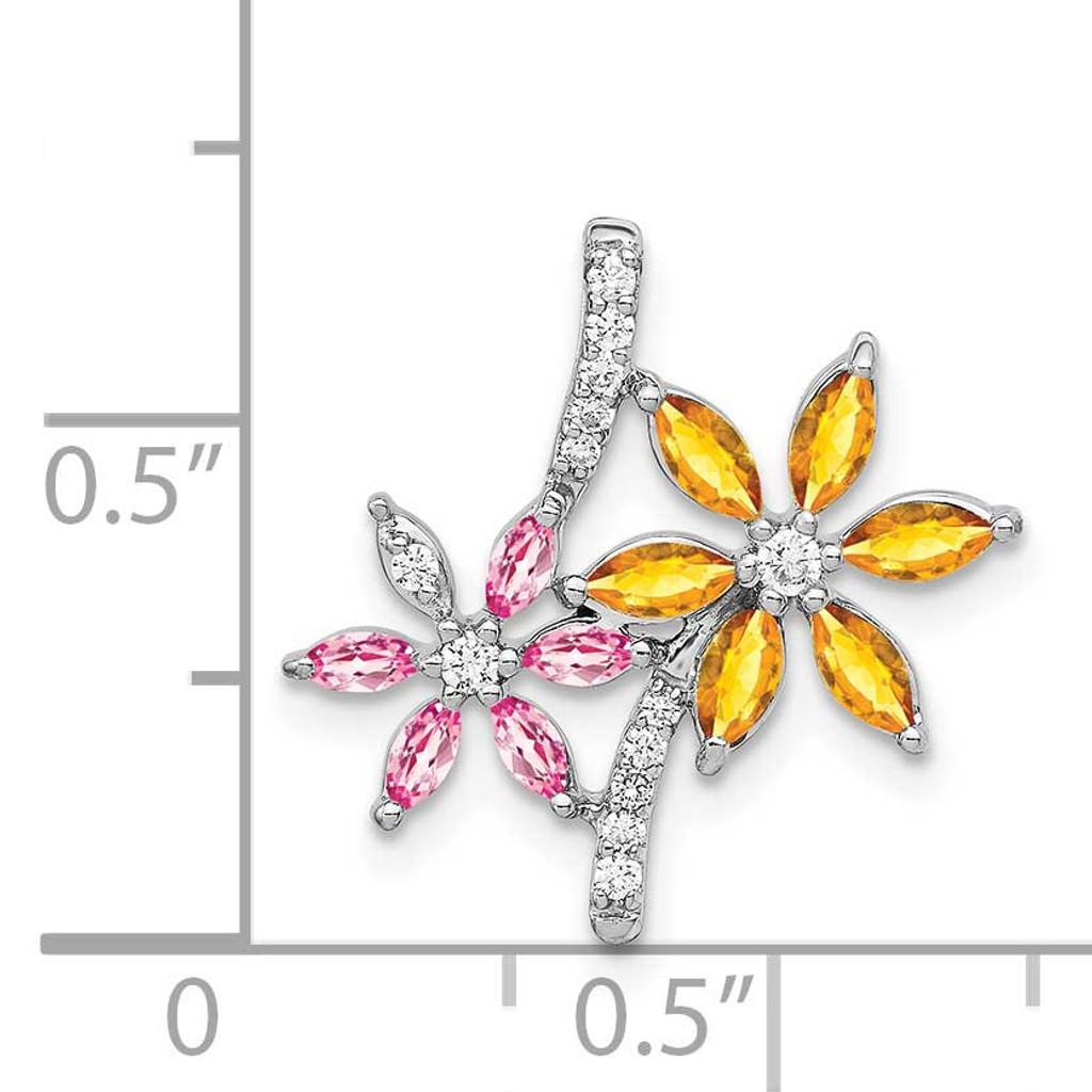 1.02 Citrine Pink Tourmaline Flower Pendant 14k White Gold Diamond PM4383-007-WA
