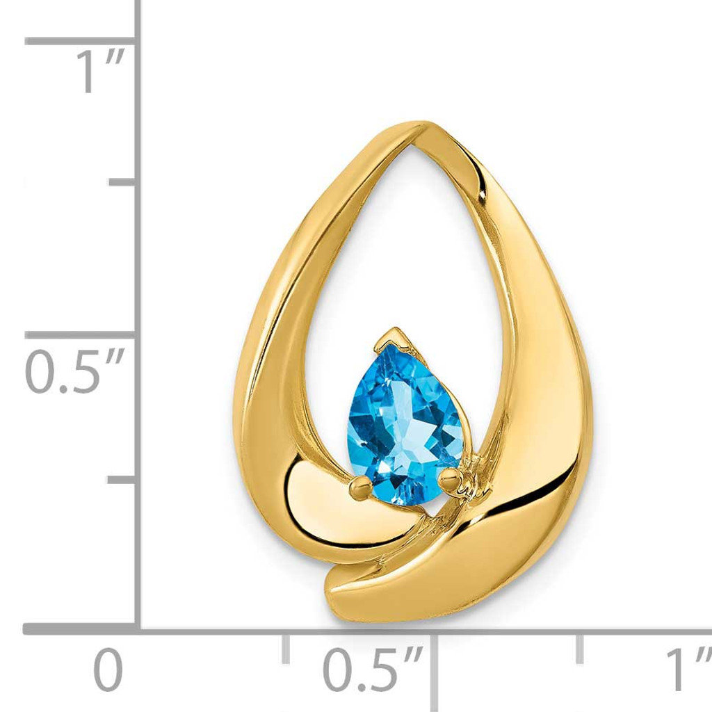 7x5mm Pear Blue Topaz Slide 14k Gold PM5238-BT-Y