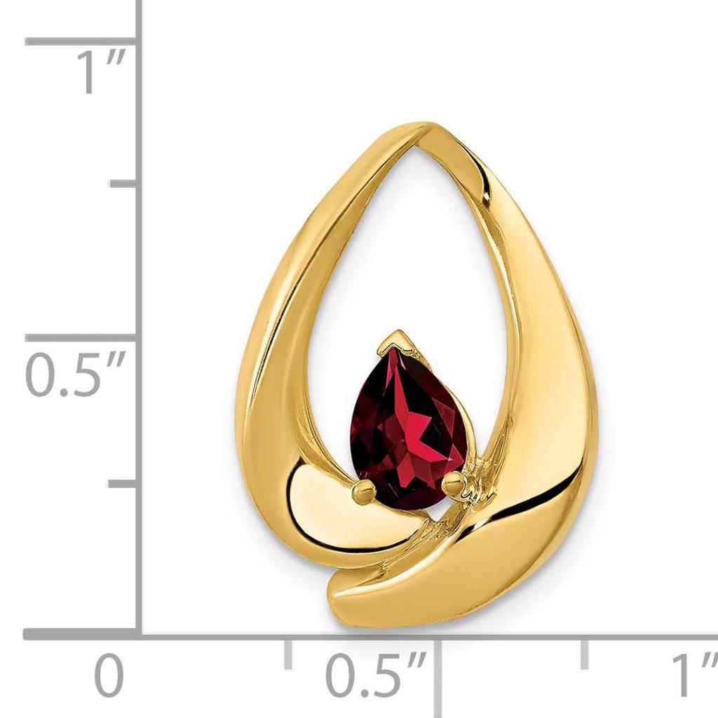 7x5mm Pear Garnet Slide 14k Gold PM5238-GA-Y