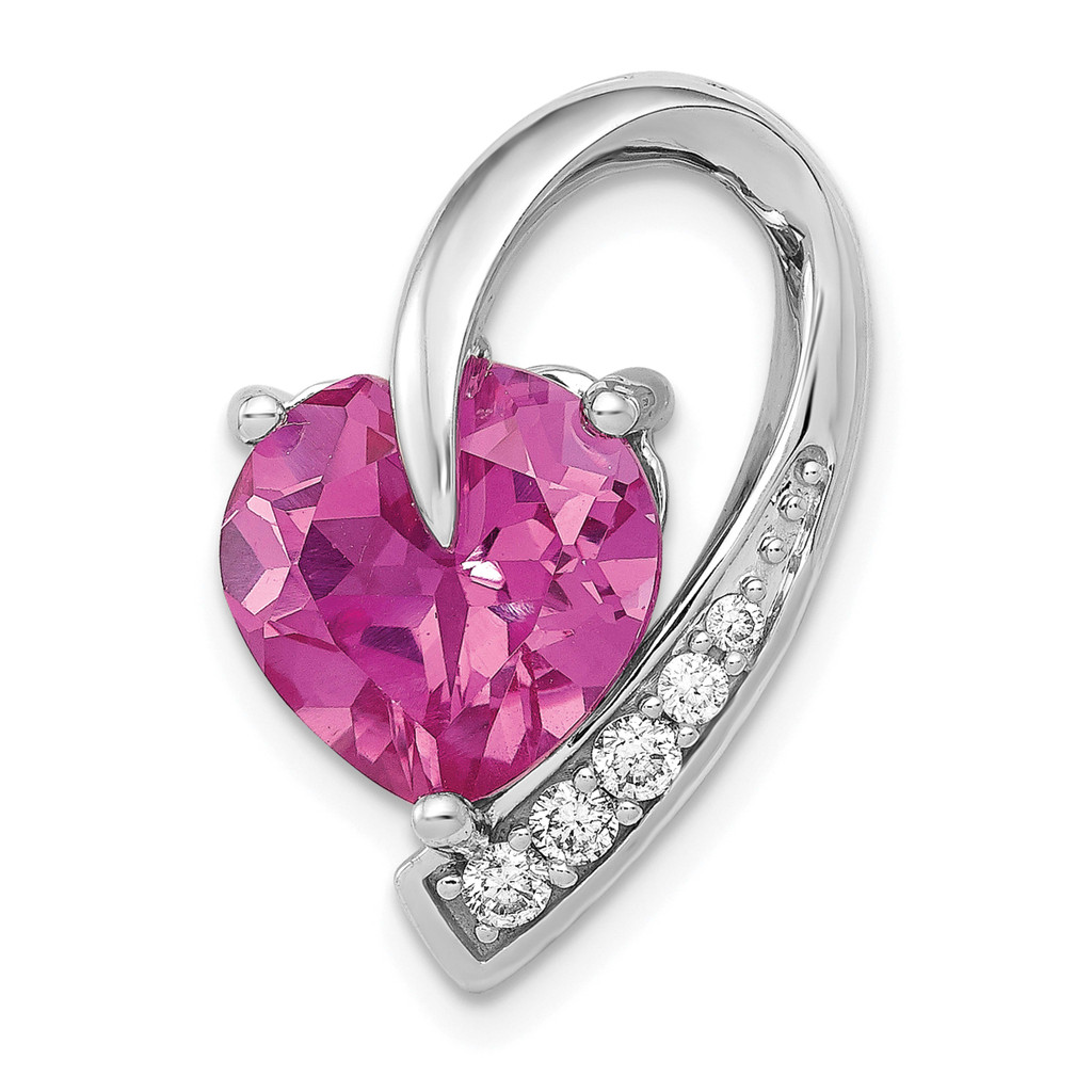 1/8ct. Diamond & Created Pink Sapphire Chain Slide 14k White Gold MPN: PM5240-CPS-013-WA UPC: