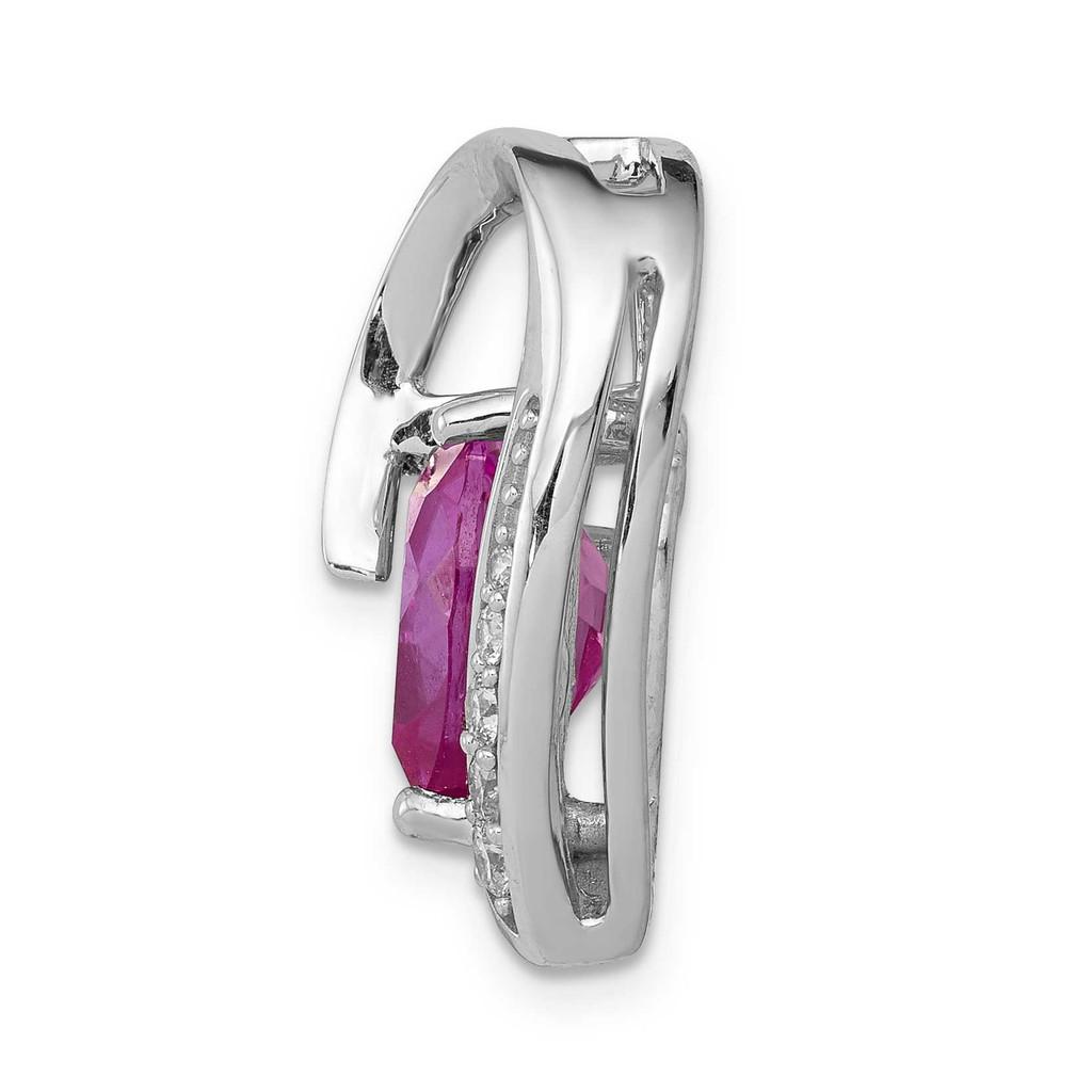 1/8ct. Diamond & Created Pink Sapphire Chain Slide 14k White Gold PM5240-CPS-013-WA
