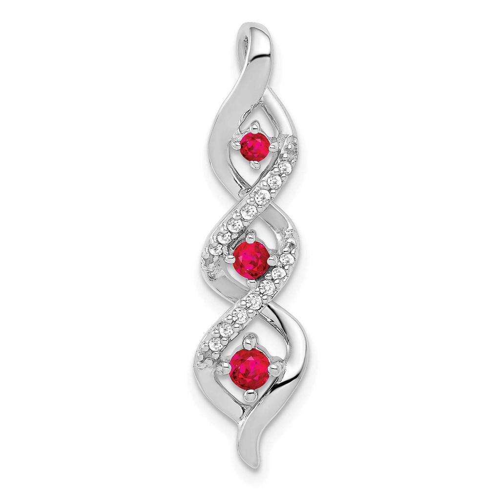 .25 Ruby Twisted Chain Slide 14k White Gold Diamond MPN: PM5264-RU-008-WA UPC: