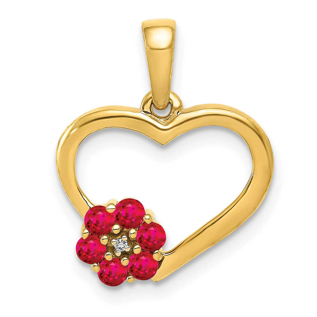 Ruby Heart Flower Pendant 14k Gold Diamond MPN: PM5271-RU-003-YA UPC: