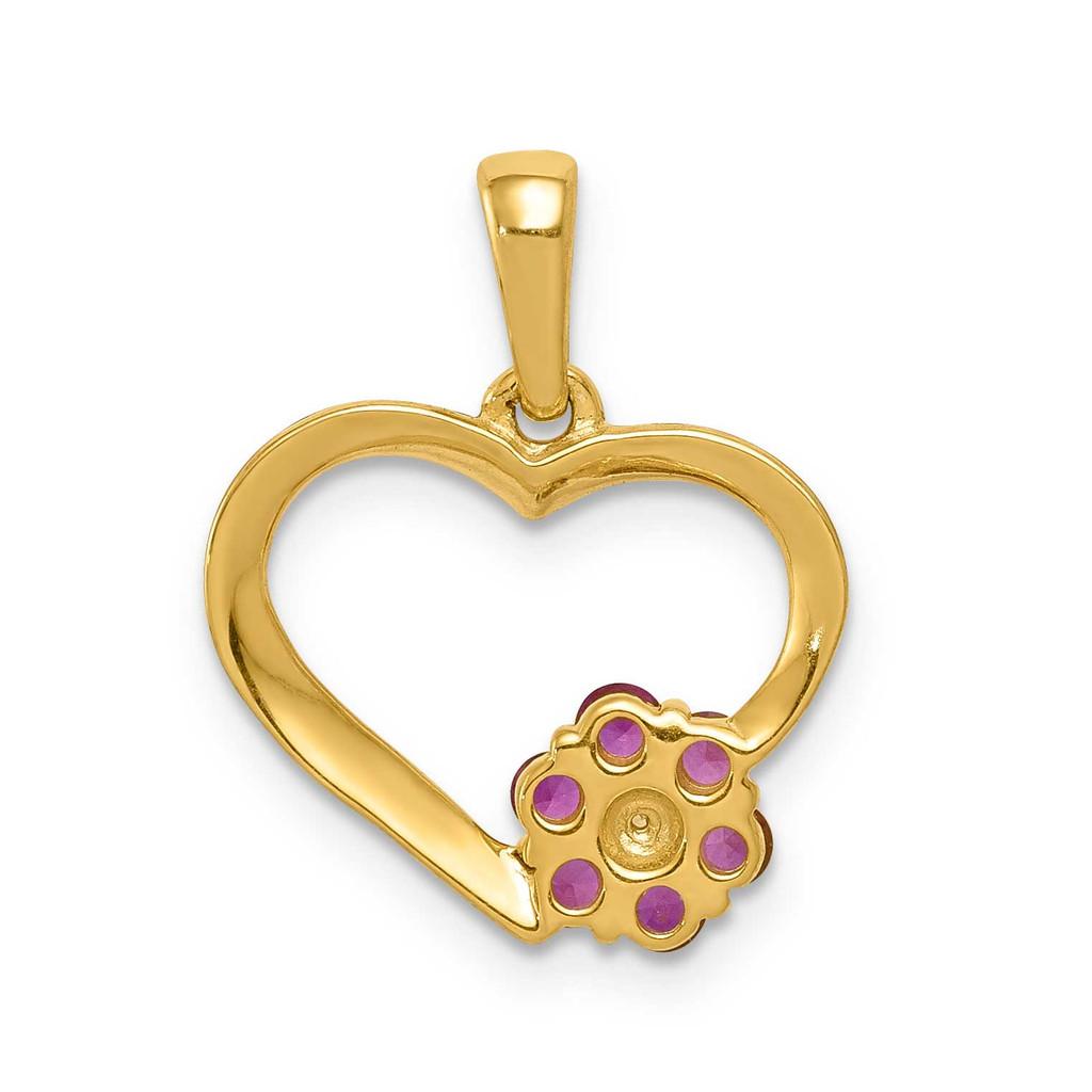 Ruby Heart Flower Pendant 14k Gold Diamond PM5271-RU-003-YA