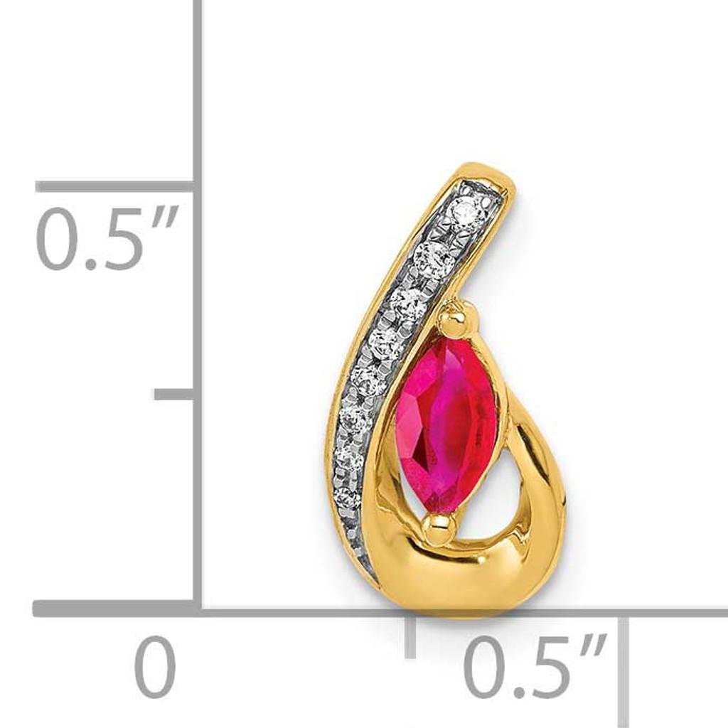 .28 Ruby Pendant Chain Slide 14k Gold Diamond PM5282-RU-005-YA