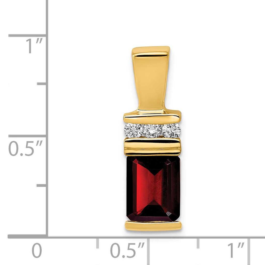 8x6mm Emerald Cut Garnet AAA Diamond Slide 14k Gold XS799GA/AAA