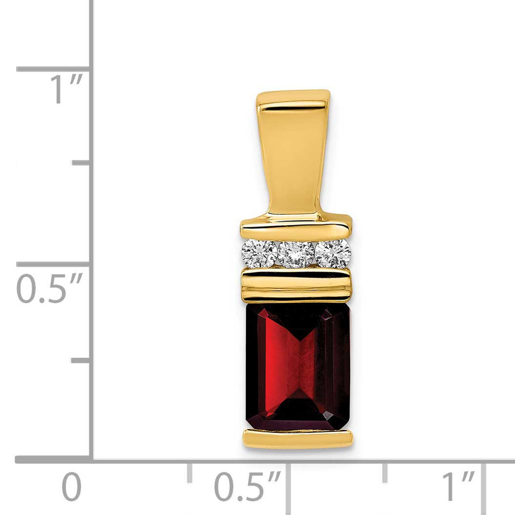 8x6mm Emerald Cut Garnet VS Diamond Slide 14k Gold XS799GA/VS