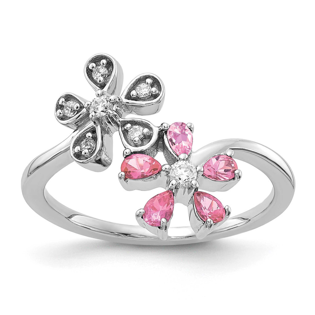 Pink Tourmaline Flower Ring 14k White Gold Diamond MPN: RM4379-010-WA UPC: