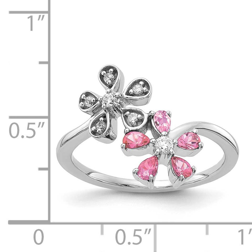 Pink Tourmaline Flower Ring 14k White Gold Diamond RM4379-010-WA