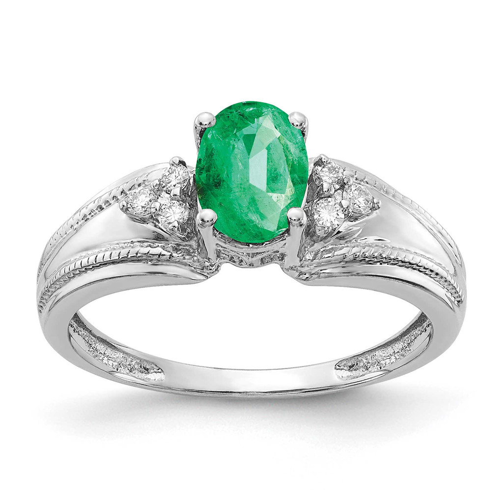 7x5mm Oval Emerald AA Diamond Ring 14k White Gold MPN: Y4450E/AA UPC: 883957394428
