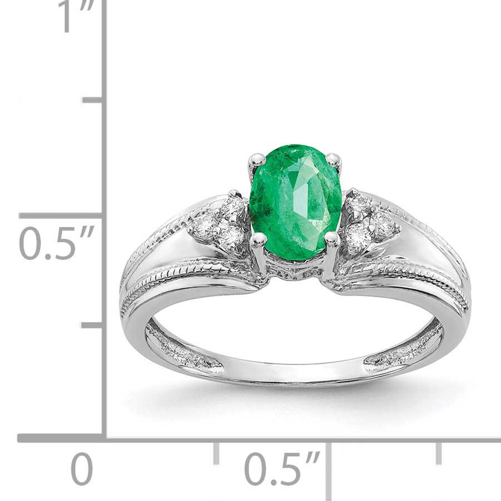 7x5mm Oval Emerald AA Diamond Ring 14k White Gold Y4450E/AA