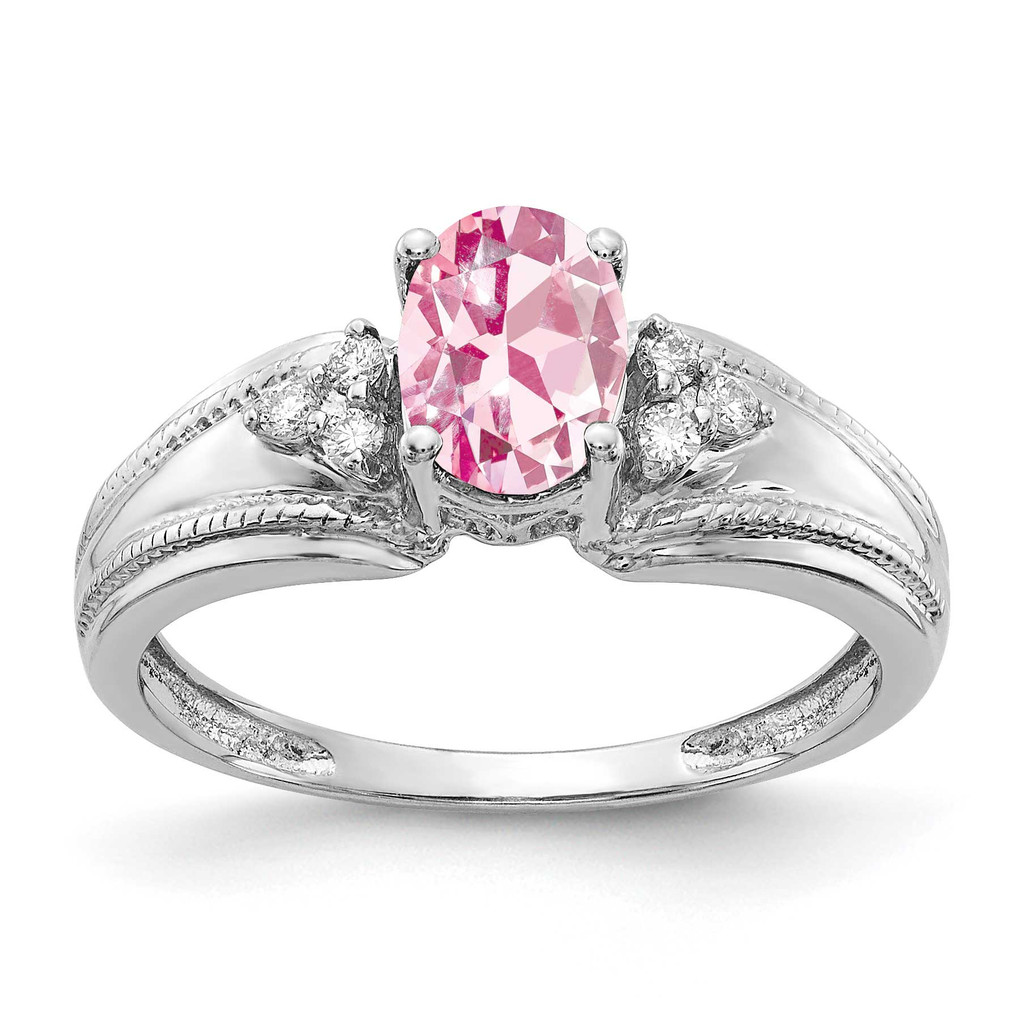 7x5mm Oval Pink Tourmaline AA Diamond Ring 14k White Gold MPN: Y4450PT/AA UPC: 883957395265