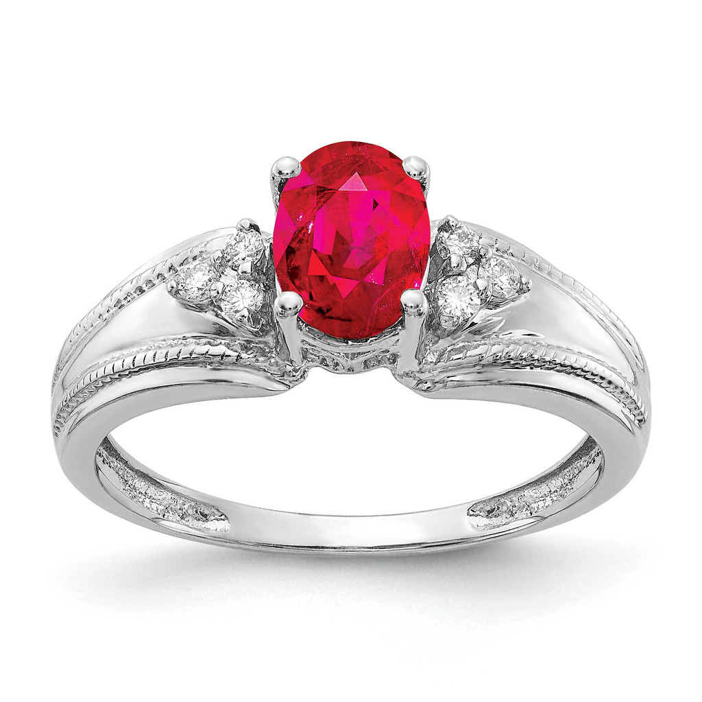 7x5mm Oval Ruby AA Diamond Ring 14k White Gold MPN: Y4450R/AA UPC: 883957395500
