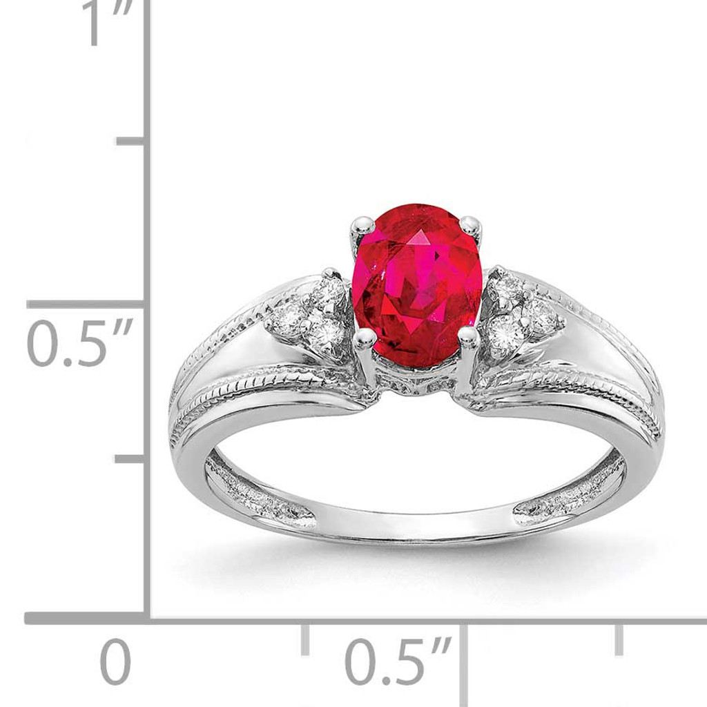 7x5mm Oval Ruby AA Diamond Ring 14k White Gold Y4450R/AA