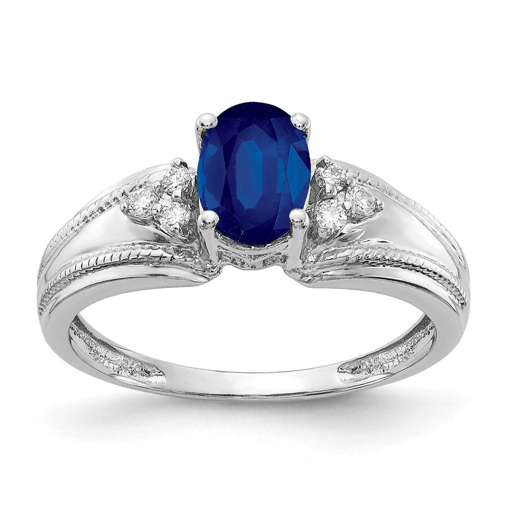 7x5mm Oval Sapphire AA Diamond Ring 14k White Gold MPN: Y4450S/AA UPC: 883957395623