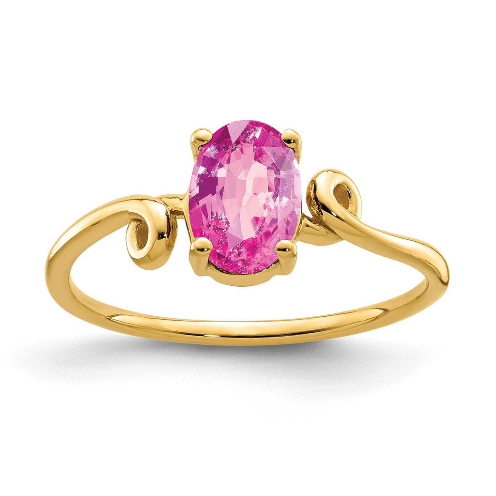 7x5mm Oval Pink Sapphire Ring 14k Gold MPN: Y4663SP UPC: 883957563022