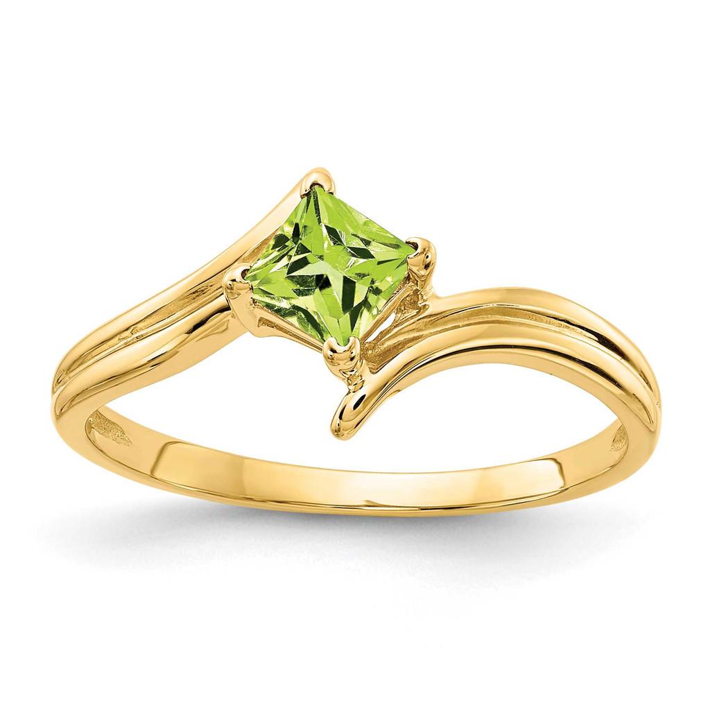 4mm Princess Cut Peridot Ring 14k Gold MPN: Y4781PE UPC: 883957663197