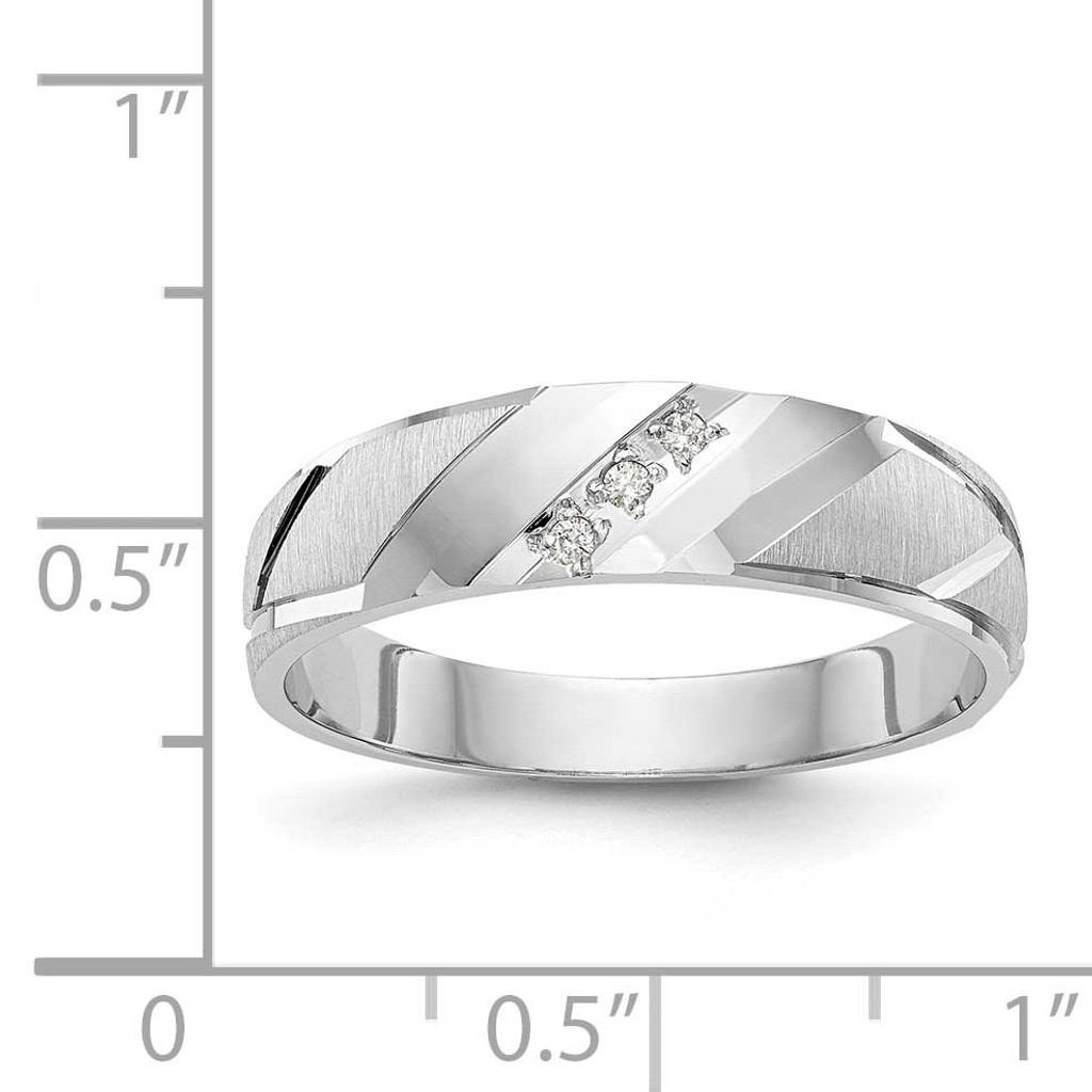 AA Quality Trio Mens Wedding Band 14k White Gold Y2454AA-G