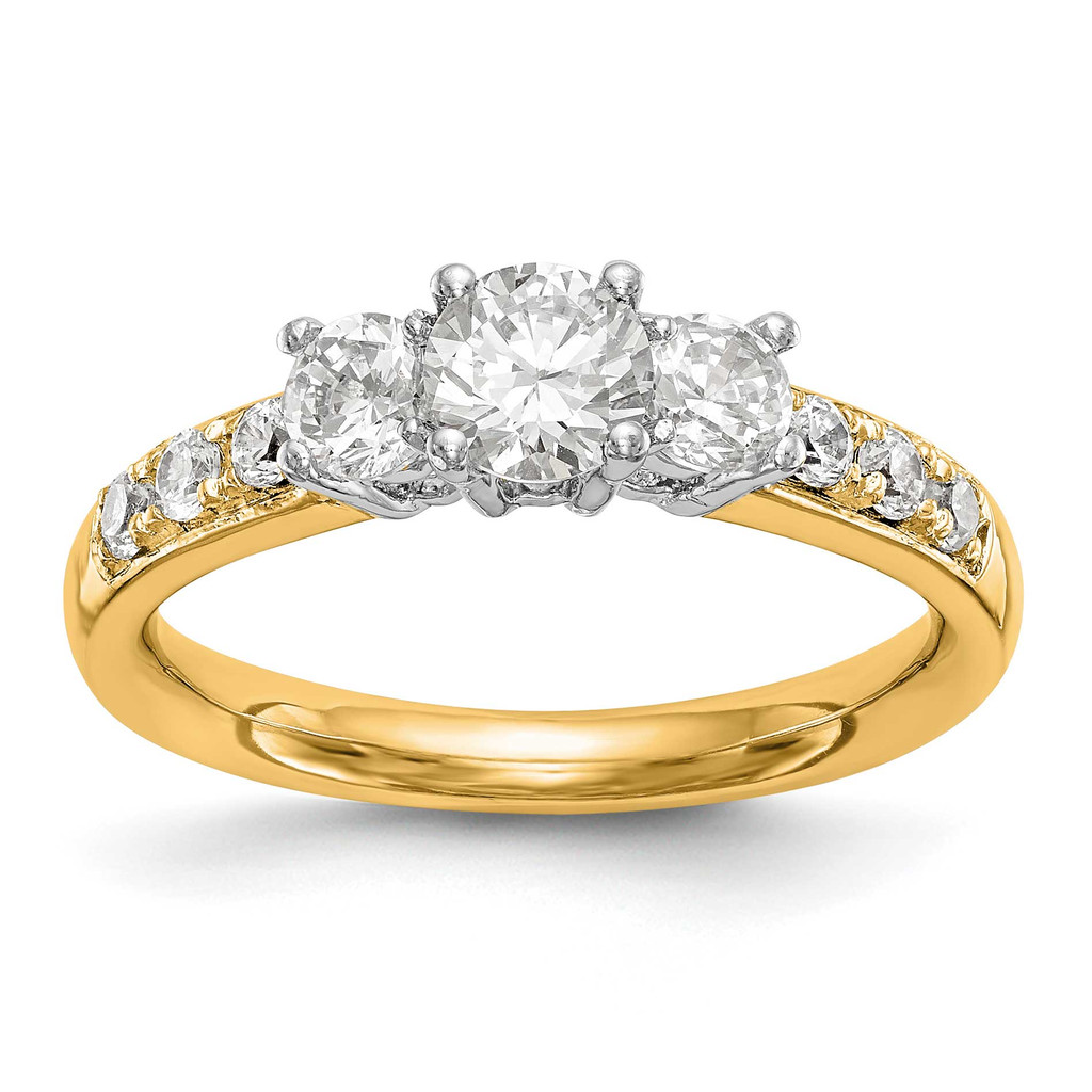 3-Stone Diamond Semi-Mount Engagement Ring 14k Two-tone Gold, MPN: RM2975E-050-YWAAUPC: