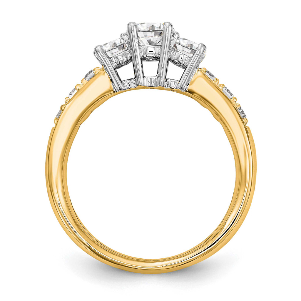 3-Stone Diamond Semi-Mount Engagement Ring 14k Two-tone Gold RM2975E-050-YWAA