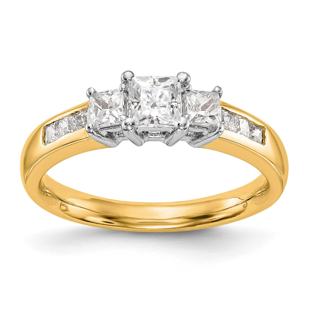 3-Stone Diamond Semi-Mount Engagement Ring 14k Two-tone Gold, MPN: RM3007E-033-YWAAUPC:
