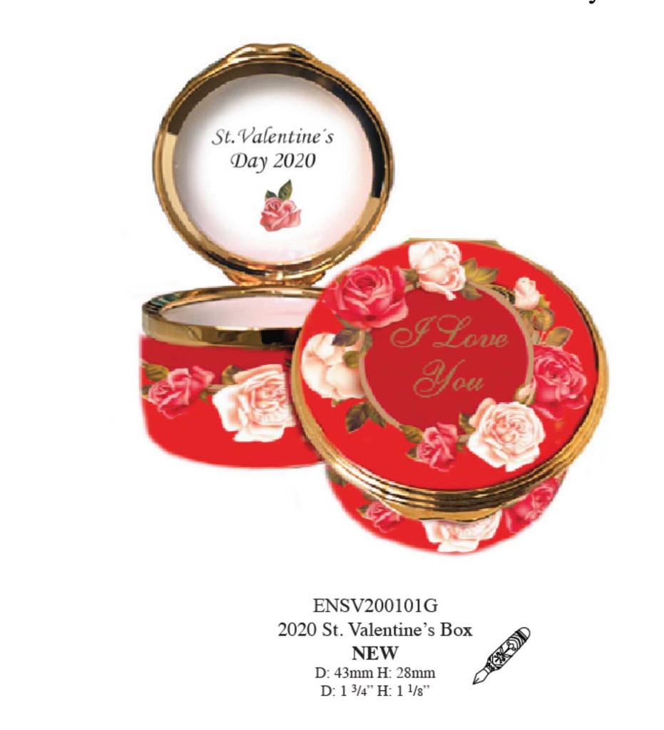 Halcyon Days 2020 St Valentine's Day Enamel Box, MPN: ENSV200101G, EAN: 5055273103151.