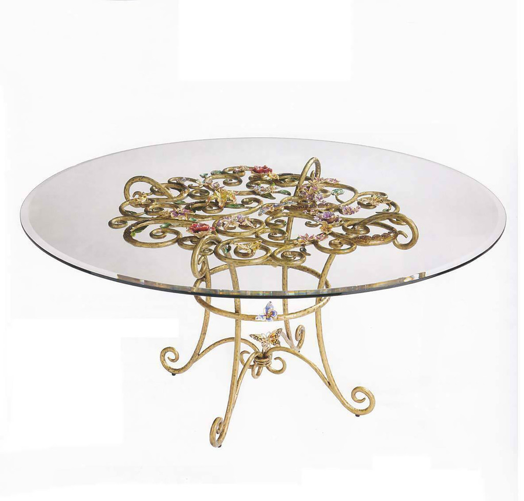 Jay Strongwater Sophia Floral Dining Table, MPN: SHW3303-450, UPC: 848510022705