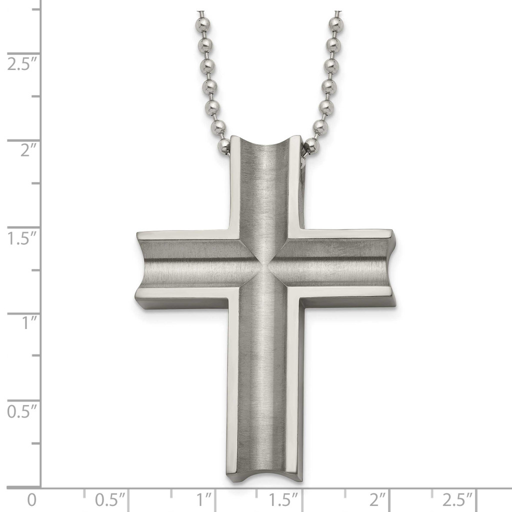 Polished Cross Necklace Titanium TBN154-24