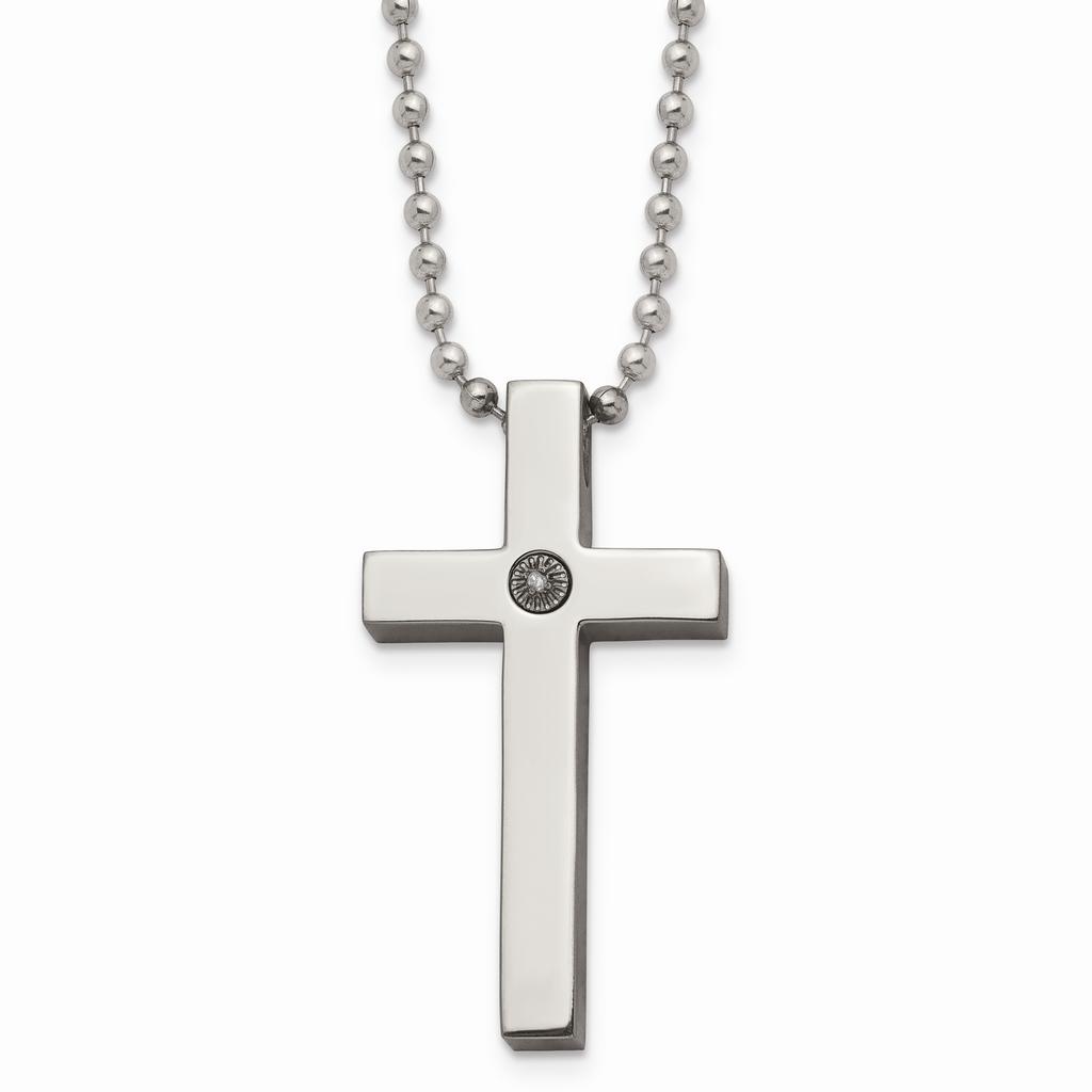 Chisel Polished 1/2pt. Diamond Cross Necklace Titanium TBN156-22