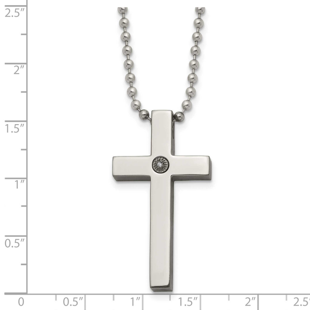 Polished 1/2pt. Diamond Cross Necklace Titanium TBN156-22