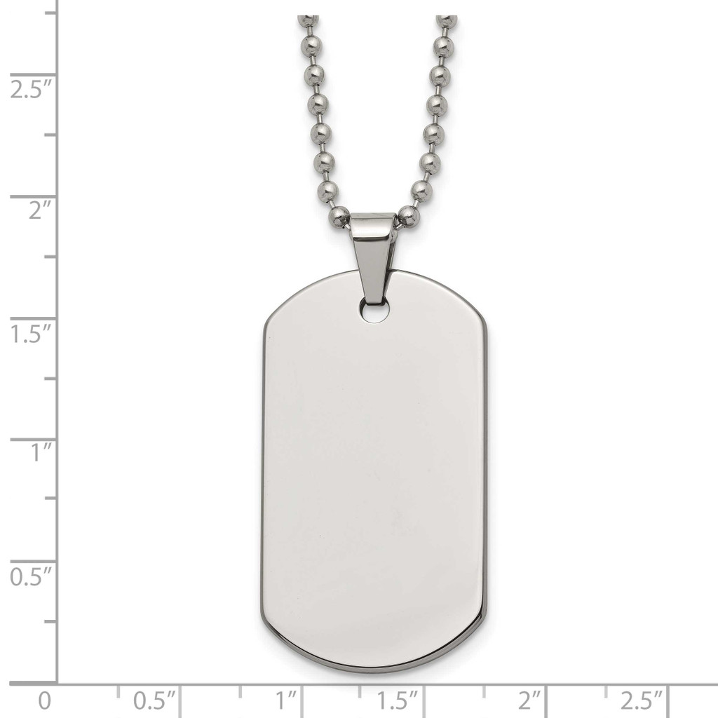 Polished Dog Tag 22 Inch Necklace Tungsten TUN100-22