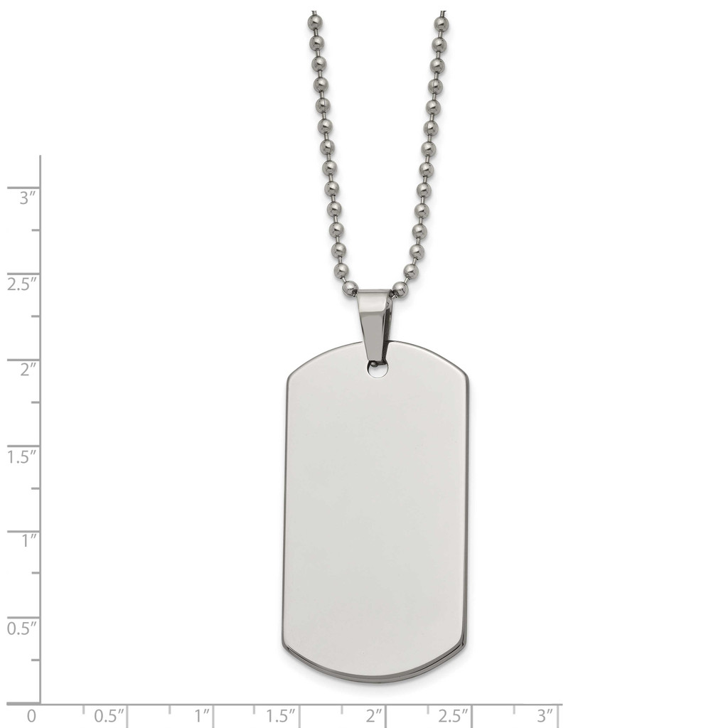 Polished Dog Tag 24 Inch Necklace Tungsten TUN101-24