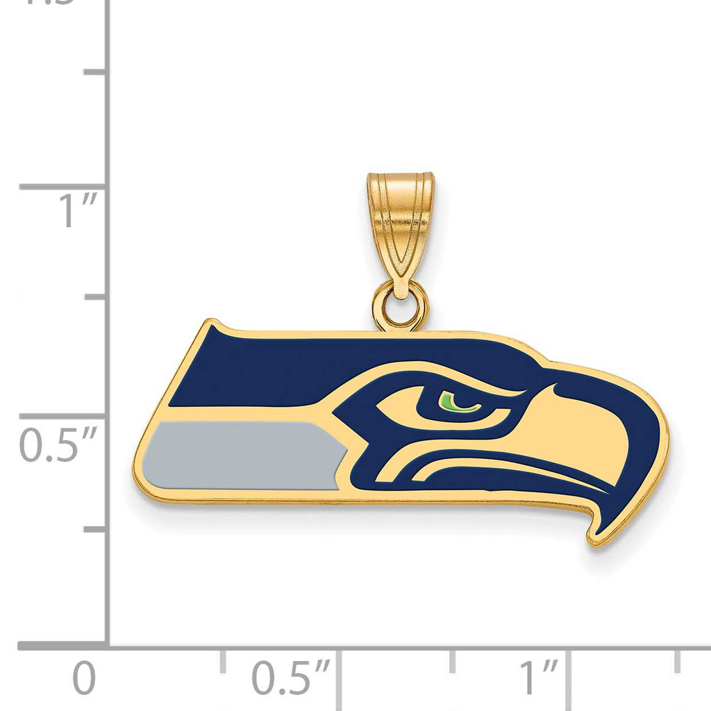 NFL Seattle Seahawks Large Enamel Pendant Gold-Plated on Sterling Silver GP010SEA