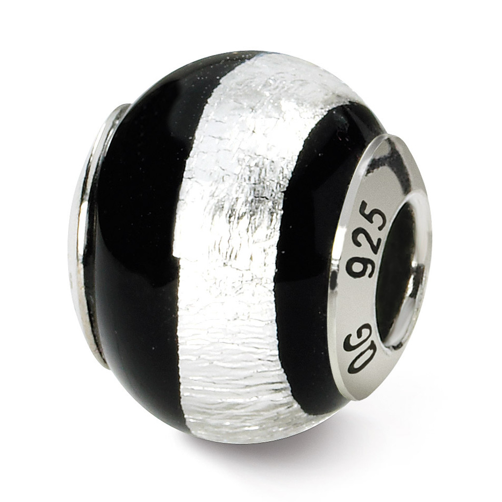 Black Silver Murano Bead - Sterling Silver QRS1525