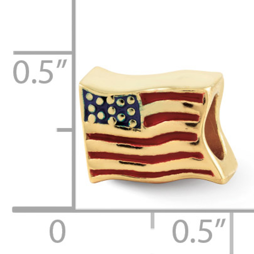 Gold-plated USA Flag Bead - Sterling Silver QRS1930GP