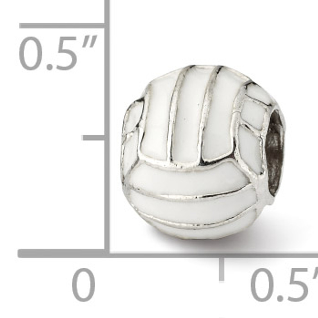 Enameled Volleyball Bead - Sterling Silver QRS1973
