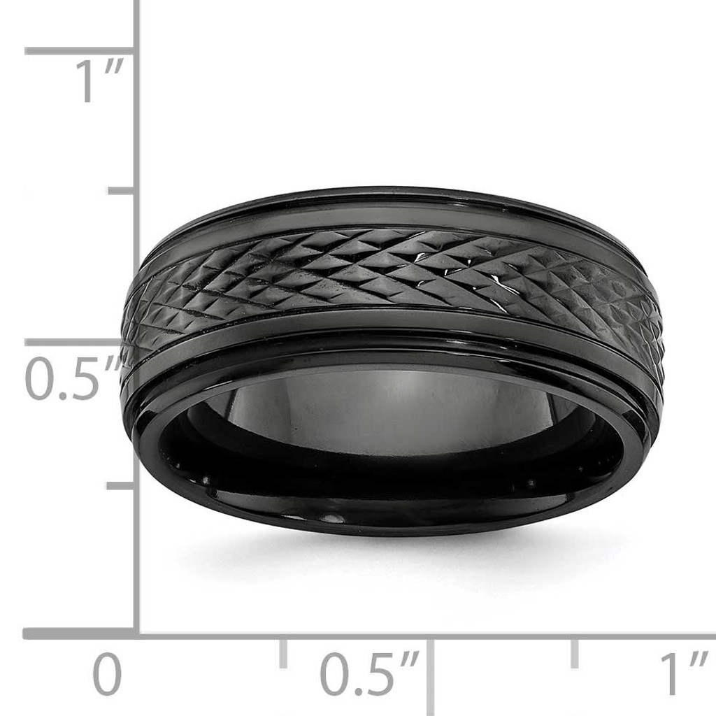 Ridged Edge 8mm Band Black Zirconium Polished ZCR101-10