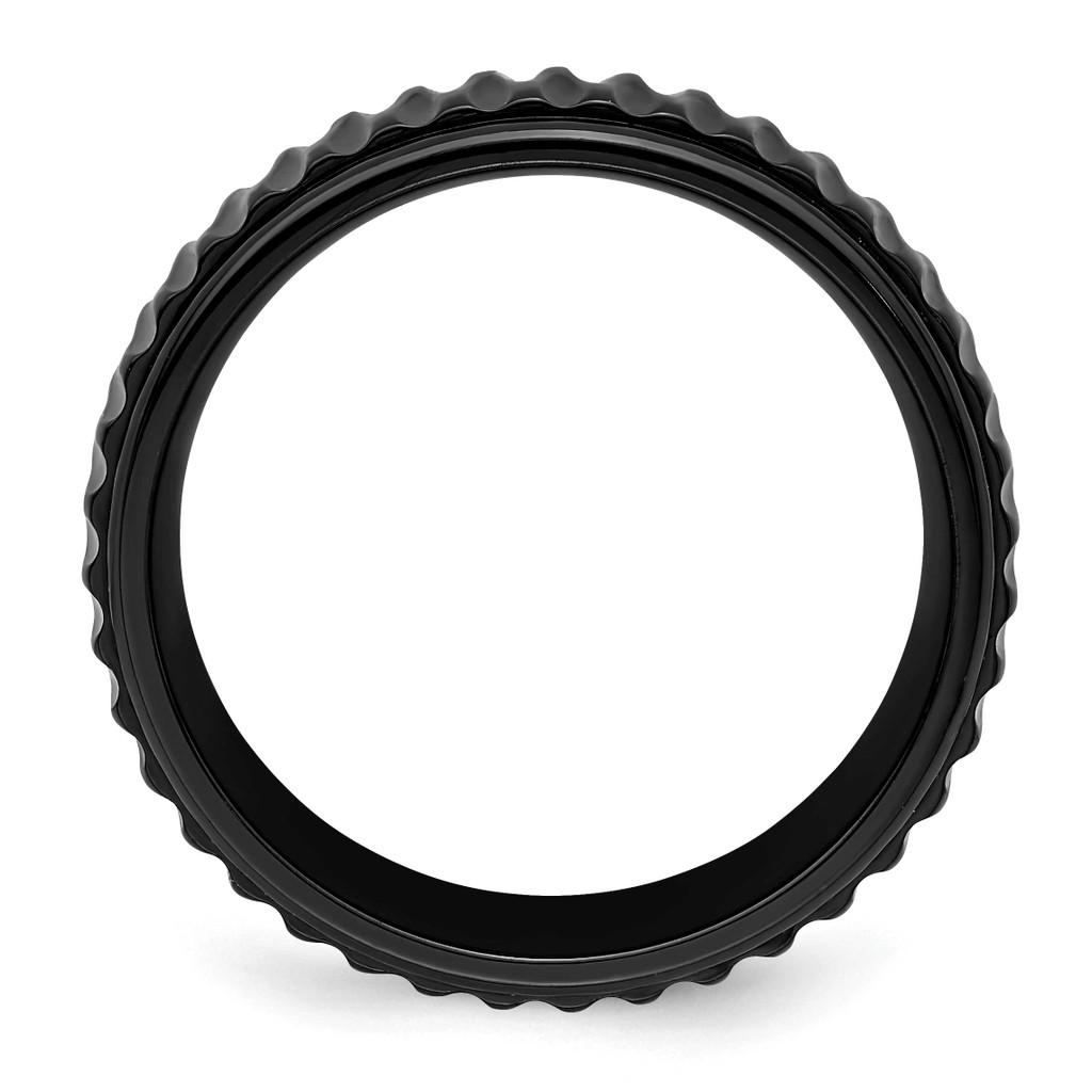 Grooved 8mm Band Black Zirconium Polished ZCR102-10