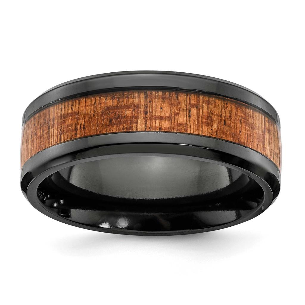Wood Inlay 8mm Band Black Zirconium Polished, MPN: ZCR105-10, UPC: 191101877209