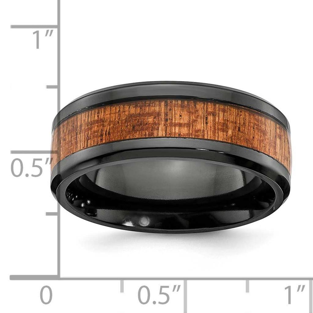 Wood Inlay 8mm Band Black Zirconium Polished ZCR105-10