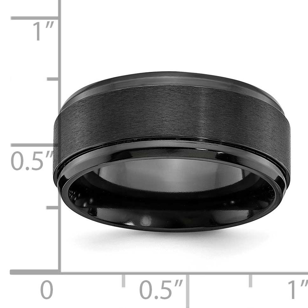 Brushed Center Beveled Edge 9mm Band Black Zirconium Polished ZCR107-10