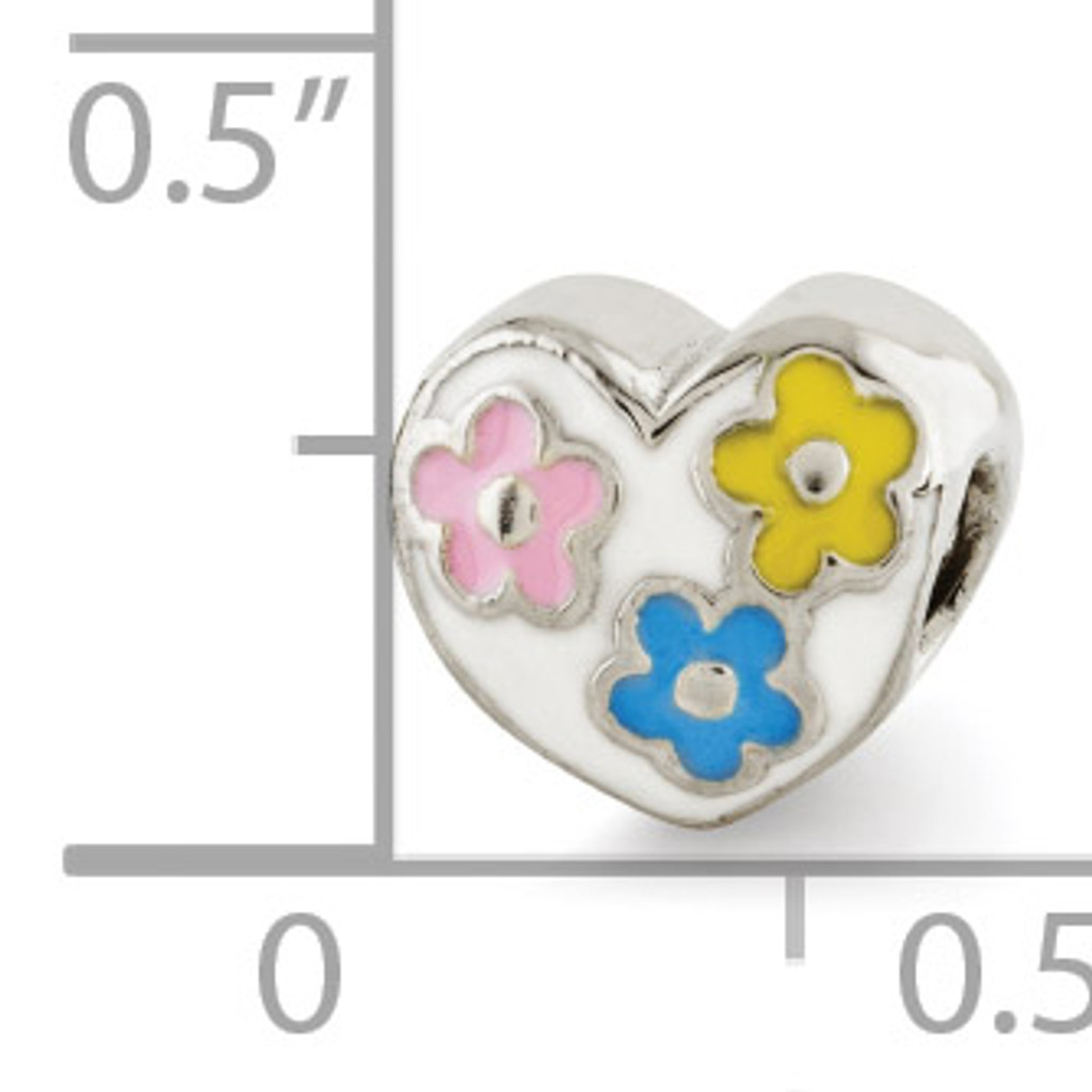 Enameled Heart with Flowers Bead - Sterling Silver QRS2933