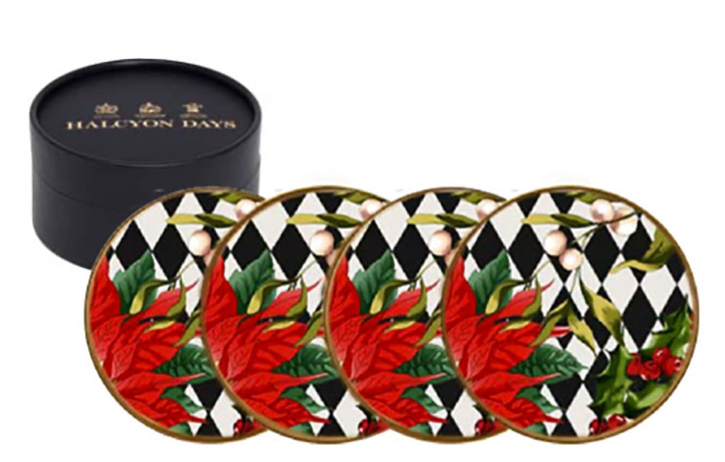Halcyon Days Parterre Black with Poinsettia Coaster Set , MPN: BCPAF02SCG