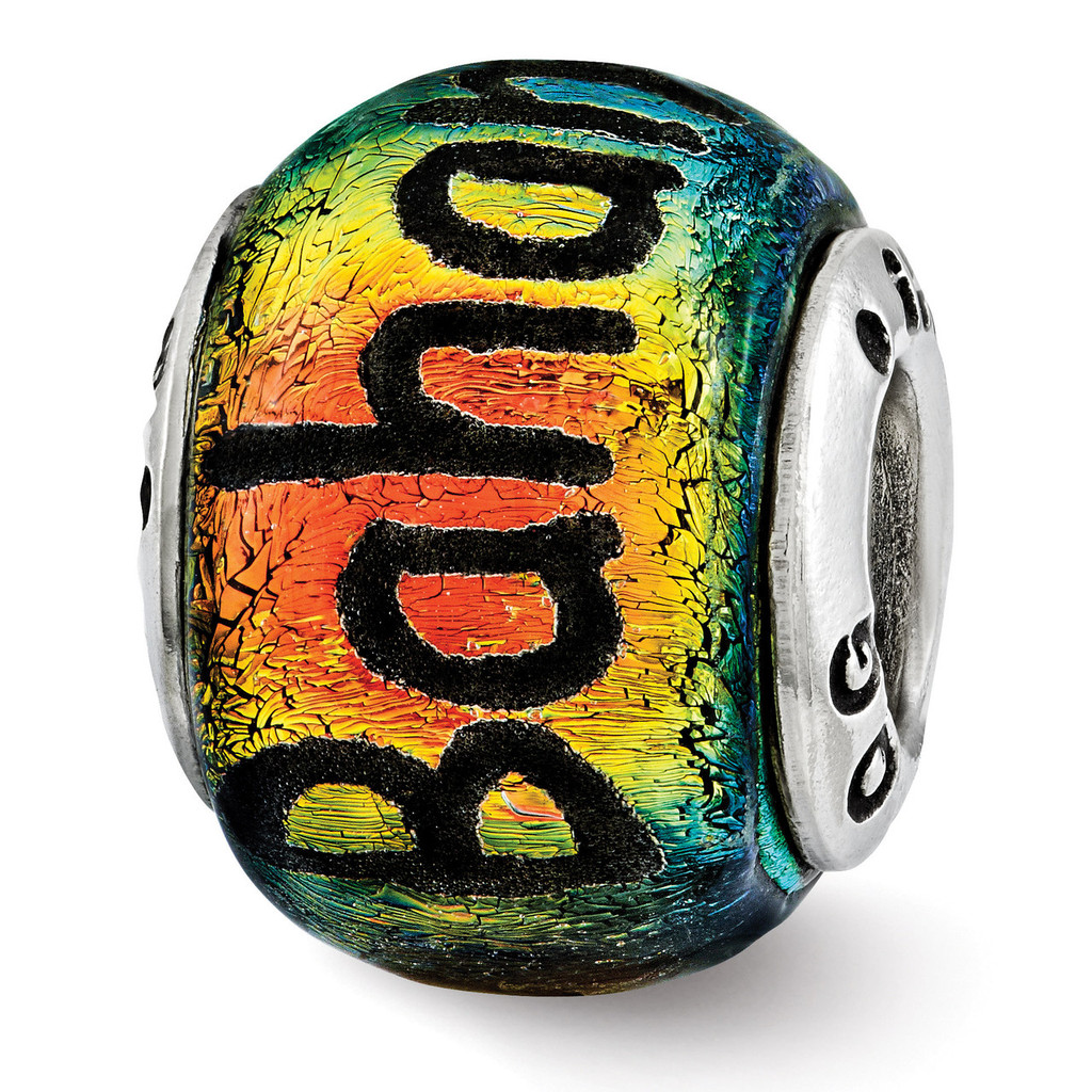 Bahama Orange Dichroic Glass Bead - Sterling Silver QRS3115