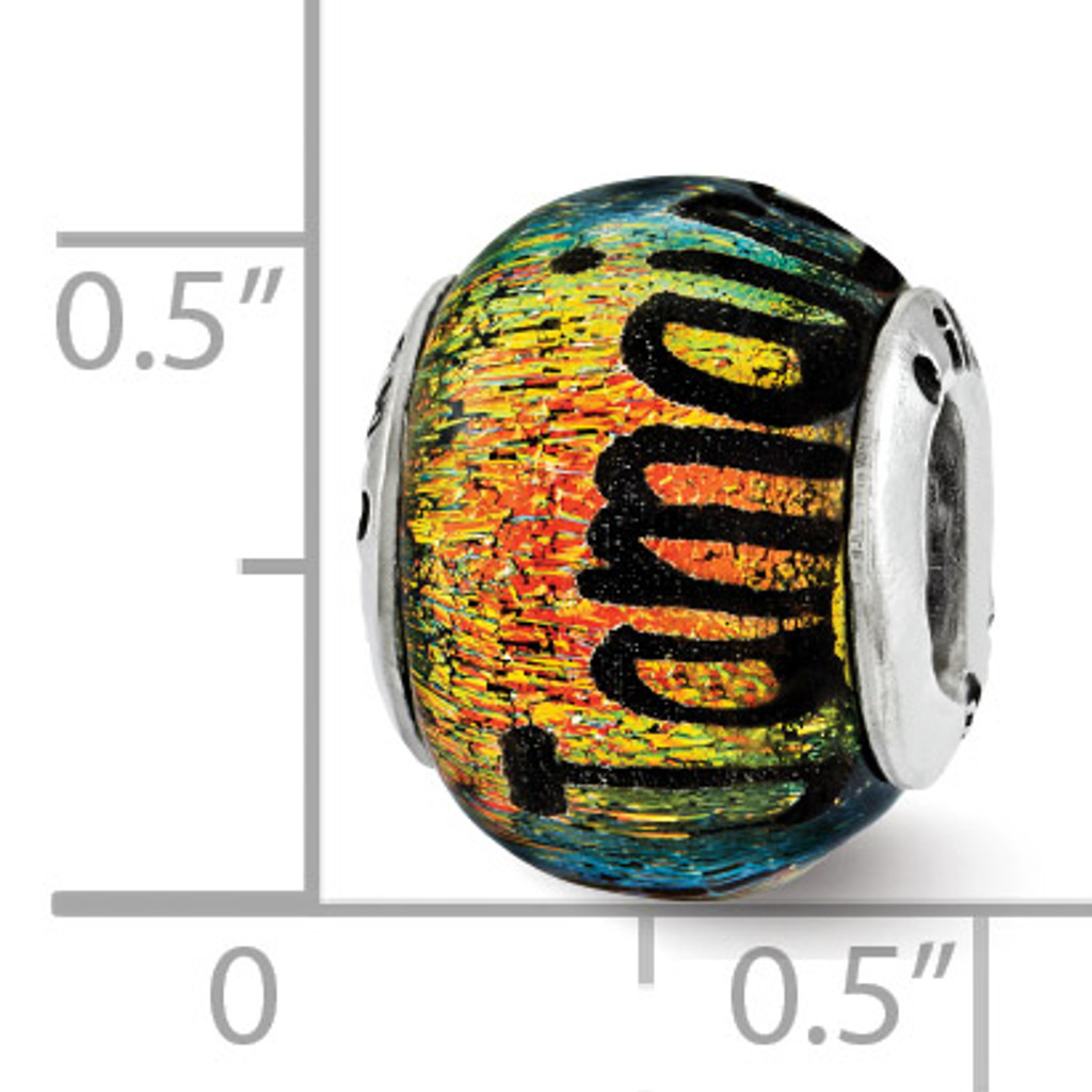 Jamaica Orange Dichroic Glass Bead - Sterling Silver QRS3117