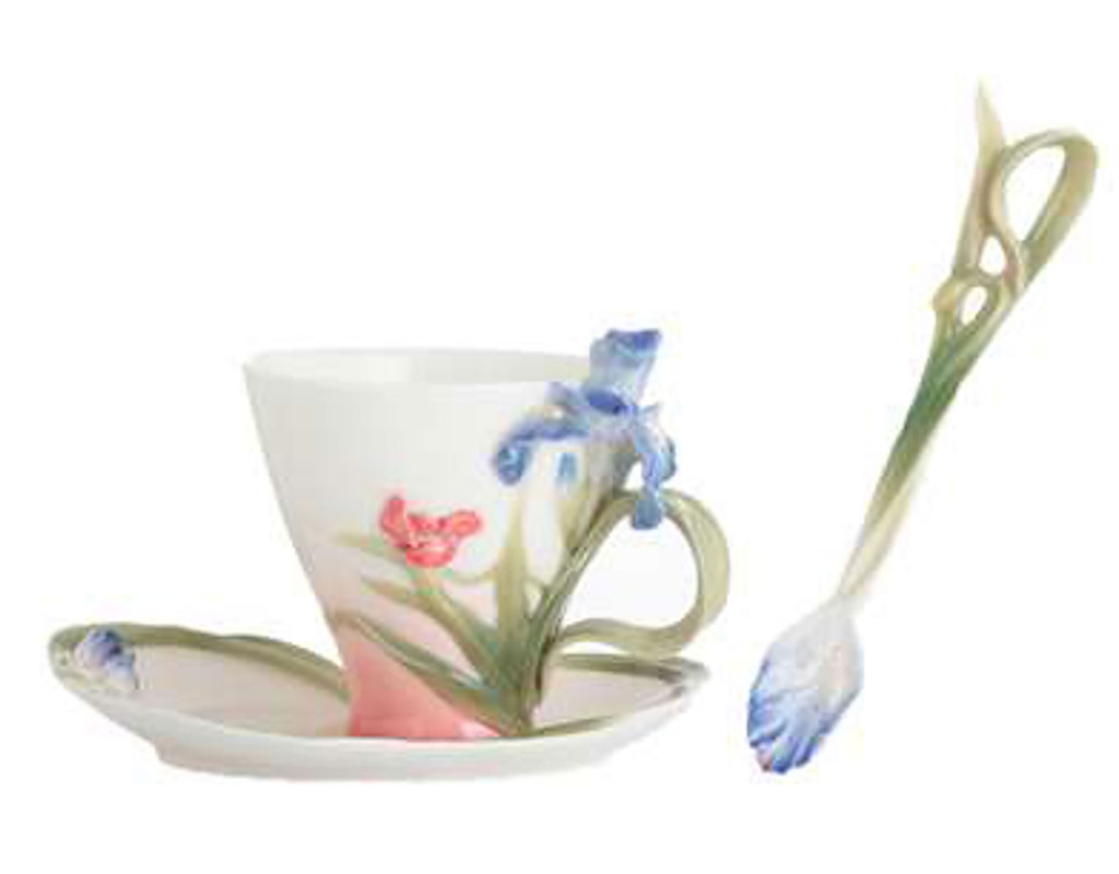 Franz Porcelain Porcelain Fringed Iris and Red Poppy Cup Saucer Spoon Set, MPN: FZ01170
