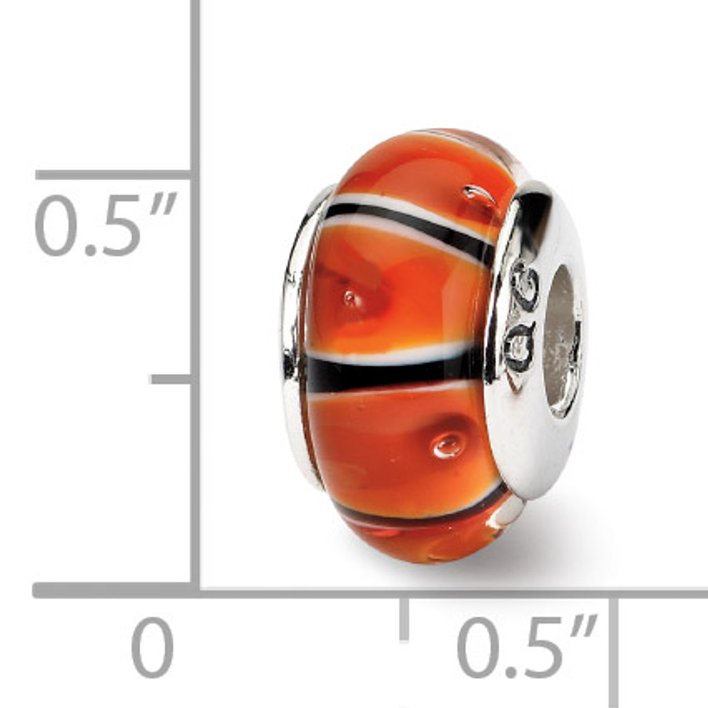 Orange Hand-blown Glass Bead - Sterling Silver QRS614