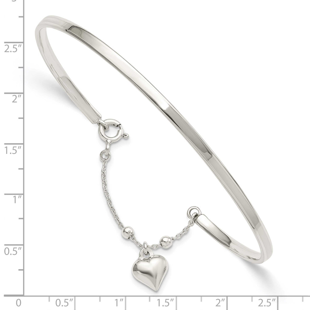 Puffed Heart Bangle Anklet Sterling Silver QG5750